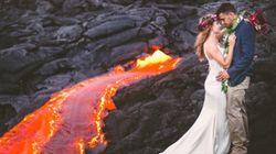 Ces nouveaux mariés posent sur un volcan en activité
