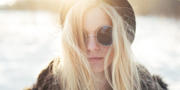 beautiful hipster girl in...