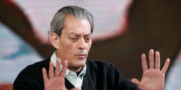 American writer Paul Auster gestures during the taping of the TV