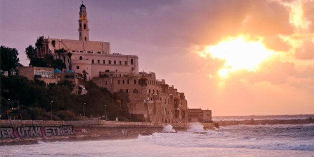 sunset over the old port of Jaffa