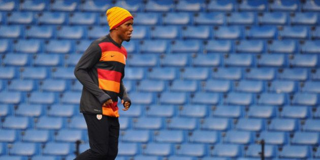 LONDON, ENGLAND - MARCH 17: Didier Drogba of Galatasary in action during a Galatasaray AS training session...
