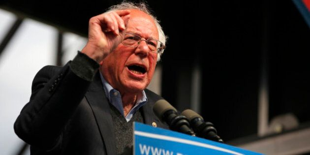 Democratic U.S. presidential candidate and U.S. Senator Bernie Sanders speaks to supporters at a campaign...
