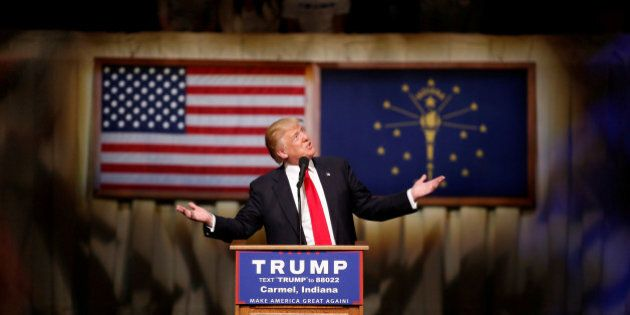 U.S. Republican presidential candidate Donald Trump speaks at a campaign event at The Palladium at the...