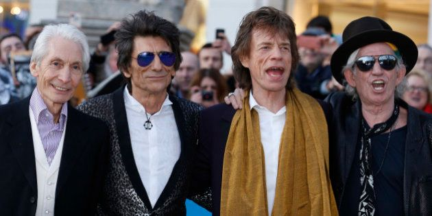 Members of the Rolling Stones (L-R) Charlie Watts, Ronnie Wood, Mick Jagger and Keith Richards arrive...