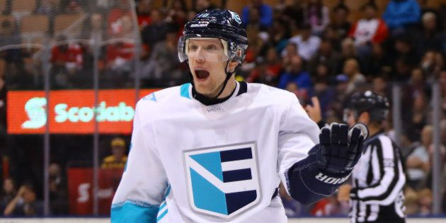 TORONTO, ON - SEPTEMBER 25: Christian Ehrhoff #10 of Team Europe reacts during the third period against Team Sweden at the semifinal game during the World Cup of Hockey tournament at  Air Canada Centre on September 25, 2016 in Toronto, Canada.  (Photo by Bruce Bennett/Getty Images)