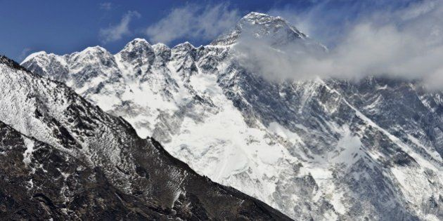 TO GO WITH Nepal-quake-Everest-tourism-mountaineering,FOCUS by Ammu KannampillyThis photograph taken...