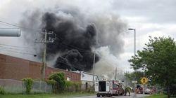 Incendie dans une usine à