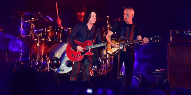 NEWARK, NJ - JUNE 17: (L-R) Roland Orzabal and Curt Smith of the group Tears for Fears perform during...