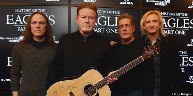 PARK CITY, UT - JANUARY 19: (L-R) Timothy B. Schmit, Don Henley, Glenn Frey and Joe Walsh of The Eagles...