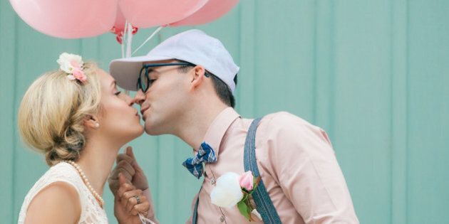 Wedding, romantic couple kissing, in retro, vintage style, with