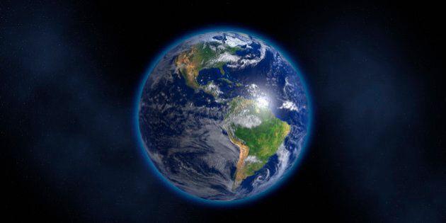 Glowing Earth floating in