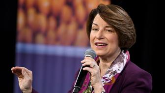 LAS VEGAS, NEVADA - APRIL 27:  Democratic presidential candidate U.S. Sen. Amy Klobuchar (D-MN) speaks at the National Forum on Wages and Working People: Creating an Economy That Works for All at Enclave on April 27, 2019 in Las Vegas, Nevada. Six of the 2020 Democratic presidential candidates are attending the forum, held by the Service Employees International Union and the Center for American Progress Action Fund, to share their economic policies.  (Photo by Ethan Miller/Getty Images)