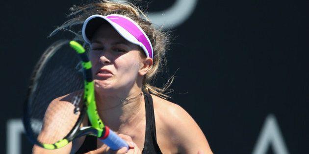 HOBART, AUSTRALIA - JANUARY 15: Eugenie Bouchard of Canada plays a forehand in her semi-final singles...