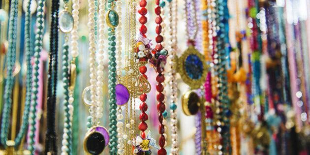 Close up of colorful Jewelry for sale in Istanbul's Grand Bazaar, Istanbul, Turkey,