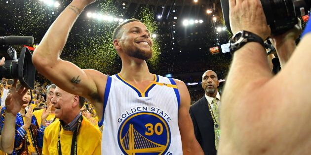 Stephen Curry après la victoire des Warriors de Golden States le 12 juin