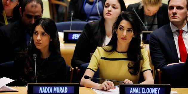 Amal Clooney, avec Nadia Murad, victime yézidie de l'Etat islamique, à l'ONU, le 9 mars