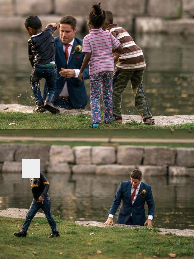 Ce marié sauve héroïquement un garçon de la noyade pendant sa séance photo de
