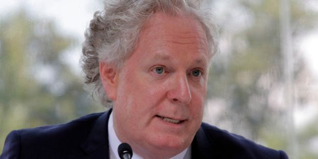 Former Quebec prime minister Jean Charest delivers a speech at the MEDEF annual meeting in Jouy en Josas,...