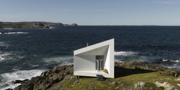 Front view of studio daytime, Squish Studio, Fogo Island, Canada, Architect: Todd Saunders, 2011. (Photo...