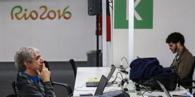 RIO DE JANEIRO, BRAZIL - AUGUST 2, 2016: Journalists at the Rio Media Center in the neighbourhood of...
