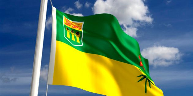 Saskatchewan flag Canada (isolated with clipping