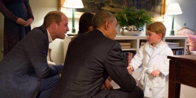 Grande-Bretagne: Les Obama rencontrent le prince Georges avant un dîner à Kensington Palace