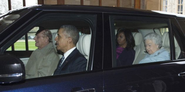 The arrival of the President of the United States and First Lady with HRH the Queen driven by the Prince...