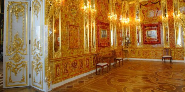 View of the Amber Room just before its opening after a completerestoration in the Catherine Palace in...