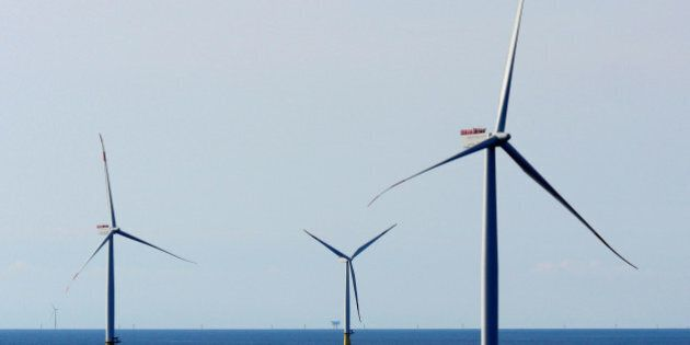 A general view of the DanTysk wind farm, 90 kilometres west of Esbjerg, Denmark, September 21, 2016....