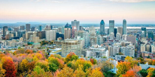Downtown Montreal City in Autumn Twilight with colorful Indian Summer Autumn Trees from above. Montreal,Quebec,