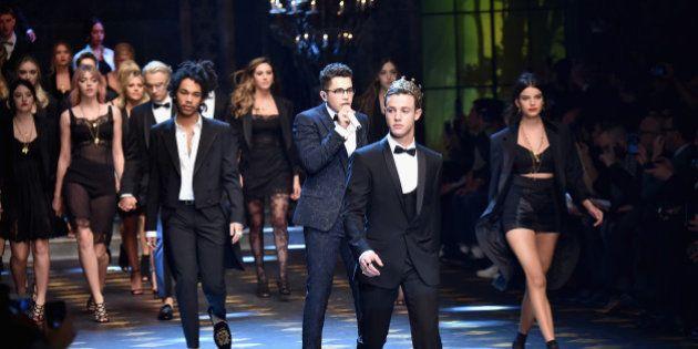 MILAN, ITALY - JANUARY 14: Cameon Dallas (C) walks the runway at the Dolce & Gabbana show during Milan...