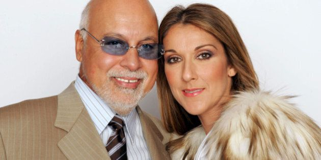 LAS VEGAS, NV - SEPTEMBER 15: Celine Dion and her husband Rene Angelil pose for a picture backstage during...