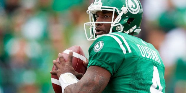 REGINA, SK - SEPTEMBER 04: Darian Durant #4 of the Saskatchewan Roughriders looks to throw during the...