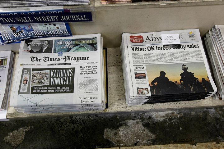 The New Orleans Times-Picayune, right, pictured alongside rival The Advocate in 2012.