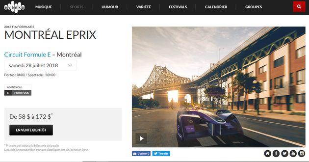 Les billets de la Formule E en vente... au