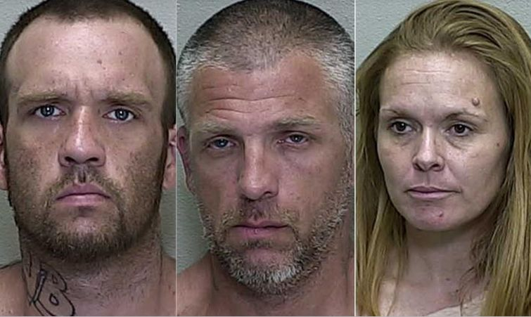 Police in Marion County, Florida, said Brandon Hayley (left), Lucian Evans (center) and Mary Elizabeth Durham (right) collaborated with a fourth suspect to forcibly tattoo a misspelled racial slur on a man's neck.