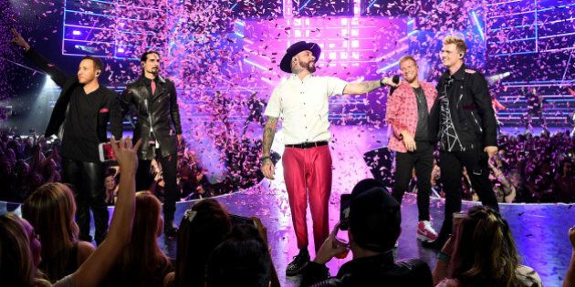 LAS VEGAS, NV - MARCH 01: (L-R) Singers Howie Dorough, Kevin Richardson, AJ McLean, Brian Littrell and Nick Carter of the Backstreet Boys perform during the launch of the group's residency 'Larger Than Life' at The Axis at Planet Hollywood Resort & Casino on March 1, 2017 in Las Vegas, Nevada. in Las Vegas, Nevada. (Photo by Denise Truscello/WireImage)