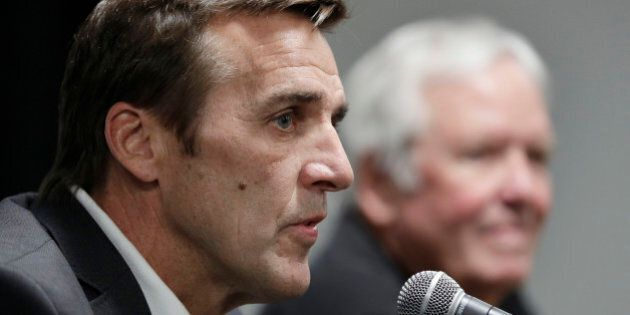 George McPhee speaks during a news conference, Wednesday, July 13, 2016, in Las Vegas. The Las Vegas...