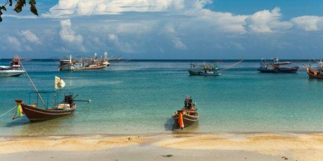 Longtail boats on the beach, Ko Phangan,