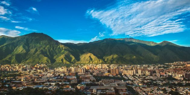 Photograph of Caracas, a Venezuelan city under siege from organized crime and corruption, shot during...