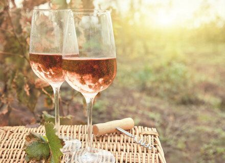29018748 - two glasses of the rose wine in autumn vineyard. harvest time