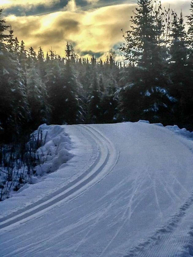 Piste sur neige fabriquée (au printemps) à la Forêt Montmorency au Nord de