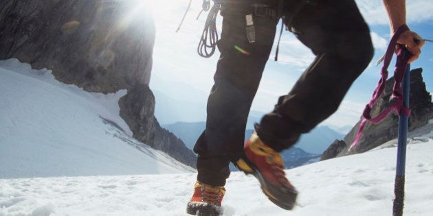 While certain compacted snow conditions allow mountaineers to progress on foot, typically some form of...