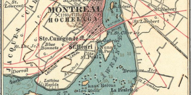 Map Of Montreal , Map Of Montreal, Circa 1900, From The 10Th Edition Of Encyclopaedia Britannica. (Photo...