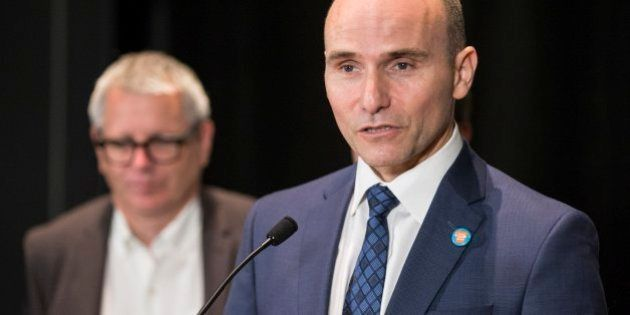 TORONTO, ON - SEPTEMBER 30 - Jean-Yves Duclos, Federal Minister of Families, speaks to the media after speeches in Daniel's Spectrum. Toronto Mayor John Tory hosted the Toronto Housing Summit. September 30, 2016.        (Bernard Weil/Toronto Star via Getty Images)