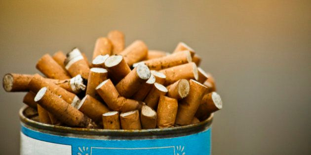Can of cigarette butts