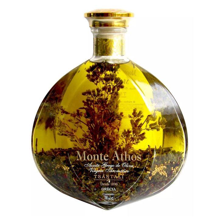 "Azeite De Oliva Grego Virgem com especiarias da marca Monte Athos <a href=""https://produto.mercadolivre.com.br/MLB-1059734806-azeite-de-oliva-grego-virgem-2-especiarias-monte-athos-_JM?matt_tool=94296781&amp;matt_word&amp;gclid=CjwKCAjwqqrmBRAAEiwAdpDXtNYKMlv90kmL_qdZy283UkOdqySRuv-4mScrTcZCGo18HQpfeaEClBoCJiwQAvD_BwE&amp;quantity=1"" target=""_blank"" rel=""noopener noreferrer"">custa R$274,90</a>."