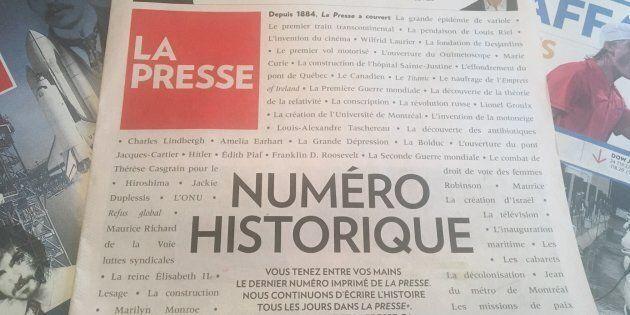Dernier numéro imprimé de La Presse, maintenant entièrement