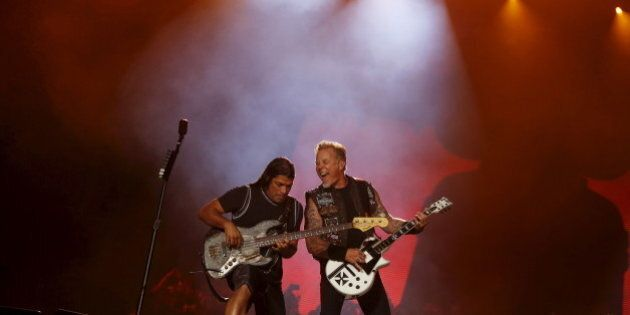 James Hetfield (R) and Robert Trujillo of Metallica perform during the Rock in Rio Music Festival in...