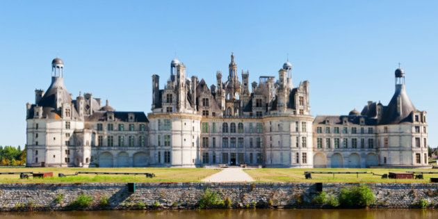 Chambord Chateau with canal. Panoramic view,